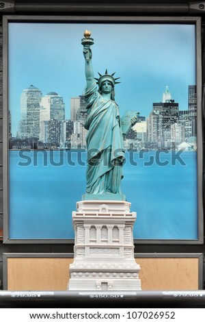 Miniature sculpture of Statue of liberty in a gift shop of the in Manhattan, New York, USA. - stock photo