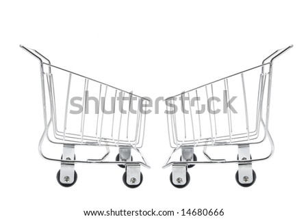Miniature Shopping Trolleys on White Background