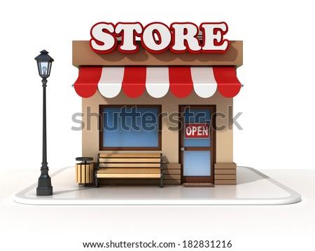miniature store 3d illustration  - stock photo