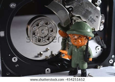 Miniature Teddy toy near Hard disc concept low key photography for data protection.