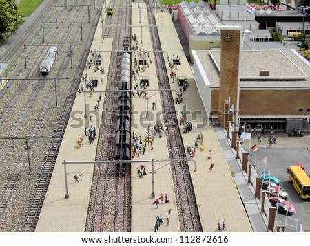 Miniature train station in The Netherlands. - stock photo