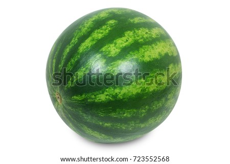 Miniature watermelon isolated against white with clipping path.