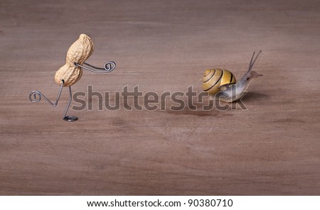 Miniature with Peanut Man trying to catch a Snail