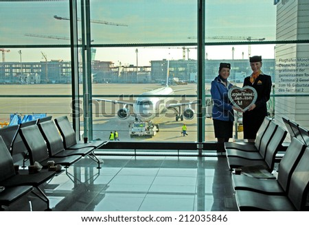 MINICH, GERMANY-SEPTEMBER 25, 2013: celebrating airline and airport cooperation. With 38 millions passengers per year it is one of the most important airport in Europe. - stock photo