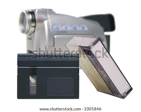 MiniDV Tape with Camera - Isolated - stock photo