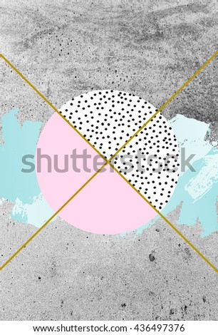 Minimal and trendy poster or card design. Abstract composition with textured geometric shapes and brush stroke. Artistic creative background with concrete and modern textures. - stock photo