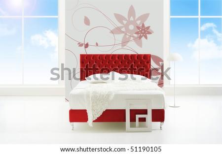 minimal bedroom with view - stock photo