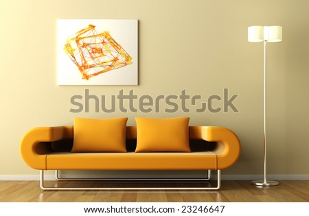 Minimal interior in orange tone with couch lamp and abstract picture - stock photo