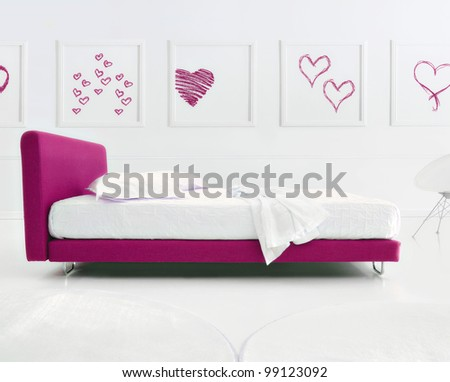 minimal love bedroom - stock photo