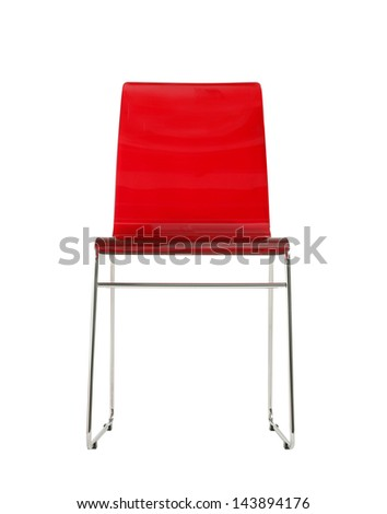 minimal red isolated chair