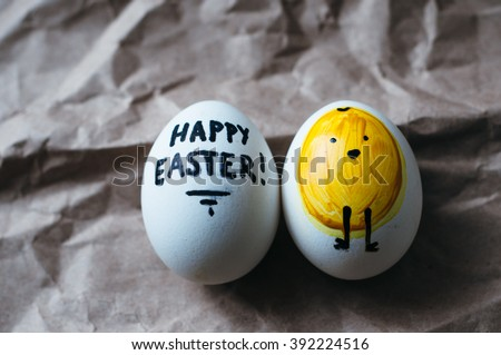 minimal trendy graphic modern yellow easter eggs. kids funny diy dye natural organic turmeric easter eggs. rustic background. easter postcard invitation. happy easter text card. chicken hand drawn. - stock photo