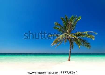 Minimalism style landscape. Amazing tropical beach landscape with palm tree, white sand and turquoise ocean waves. Myanmar (Burma) travel destinations - stock photo