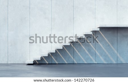 minimalism style stairs illuminated by sun - stock photo