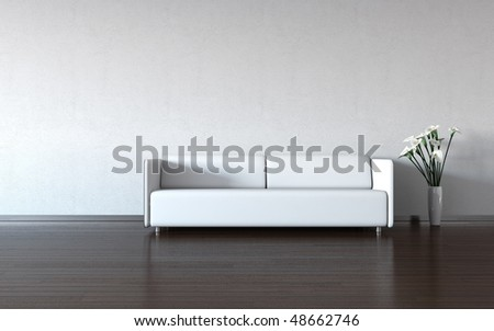 Minimalism: white couch and vase by the wall (3d minimalism HQ interiors with copy spaces series) - stock photo