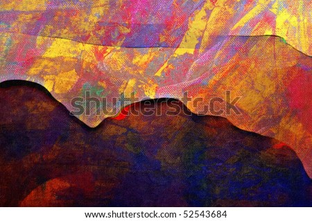 minimalist abstract mountain landscape original oil painting - stock photo
