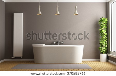 Minimalist bathroom with elegant bathtub, vertical heater and plant - 3D Rendering - stock photo