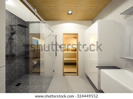 Minimalist Bathroom With Sauna 3d Visualization