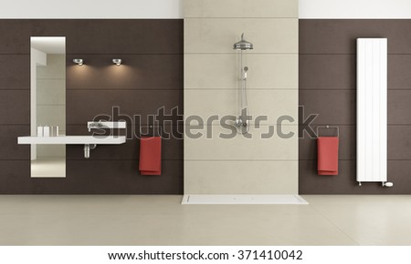 Minimalist bathroom with shower and washbasin - 3D Rendering