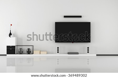Minimalist black and white lounge with tv set- 3D Rendering - stock photo
