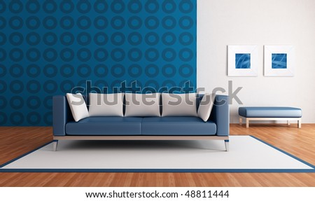 minimalist blue lounge with modern couch and geometrical wallpaper - rendering-the picture art on wall is a my abstract composition - stock photo