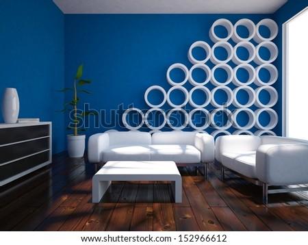 minimalist blue room - stock photo