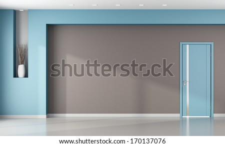 Minimalist brown and blue interior with closed modern door - rendering - stock photo
