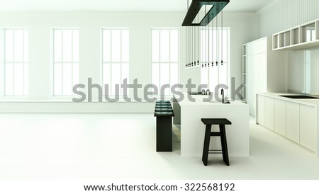 Minimalist dining kitchen / 3D render image - stock photo