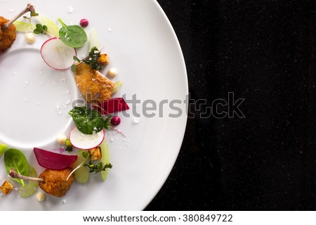 minimalist dish top view - stock photo