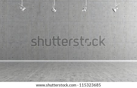 Minimalist  empty room with panel and concrete floor - rendering