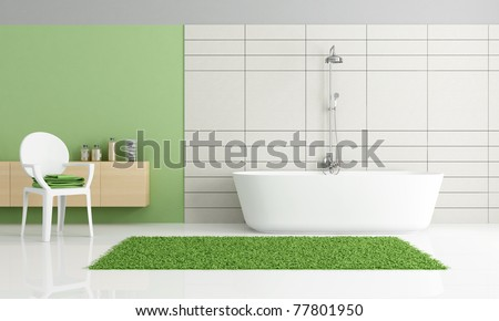 minimalist green and white bathroom - stock photo