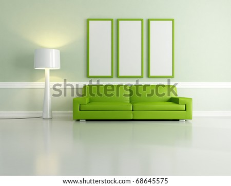 minimalist green living room with empty frame and floor lamp - rendering - stock photo