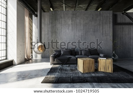 Minimalist Industrial Loft Conversion Living Room Stockillustration  1024719505 U2013 Shutterstock
