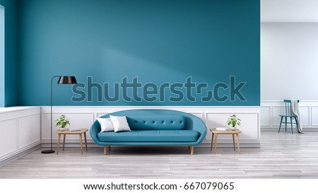 blue couches living rooms minimalist. Minimalist Interior Of Living Room, Blue Sofa With Wood Table And Black Lamp On Couches Rooms T