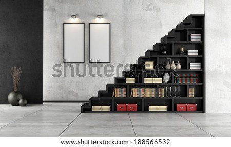 Minimalist Living room with a wooden staircase and bookcase - rendering - stock photo