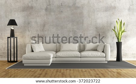 Minimalist living room with grunge concrete wall and white sofa on carpet - 3D Rendering - stock photo