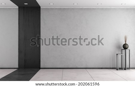 Minimalist living room with wooden full height door - rendering - stock photo