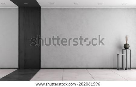 Minimalist living room with wooden full height door - rendering - stock photo