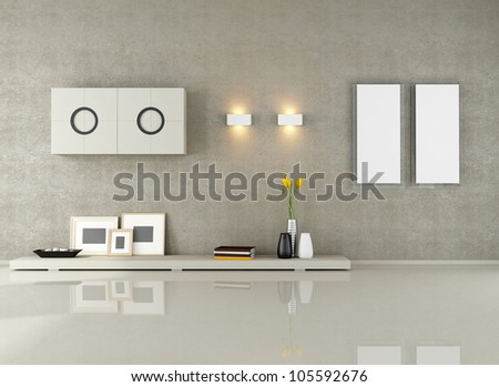 minimalist living room without sofa - rendering - stock photo