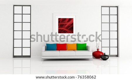 minimalist lounge with white couch and pillow - rendering - the art picture on wall is a my composition