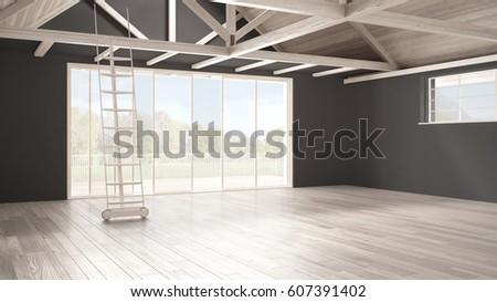 Minimalist Mezzanine Loft Empty Industrial Space Wooden Roofing And Parquet Floor Scandinavian Classic
