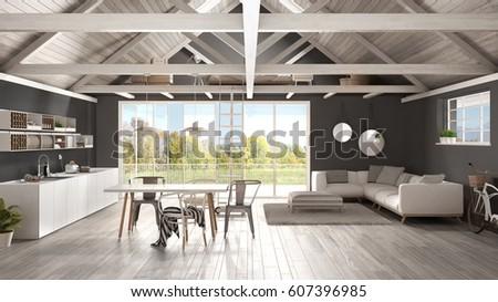 Minimalist Mezzanine Loft Kitchen Living Bedroom Stock ...