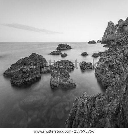 Minimalist misty seascape with rocks at long exposure. Black and white - stock photo