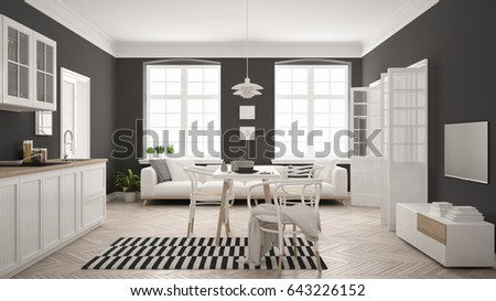 Minimalist modern kitchen with dining table and living room, white and gray scandinavian interior design, 3d illustration
