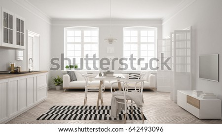 Minimalist modern kitchen with dining table and living room, white scandinavian interior design, 3d illustration