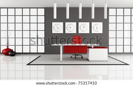 minimalist office space with empty white desk - rendering - stock photo