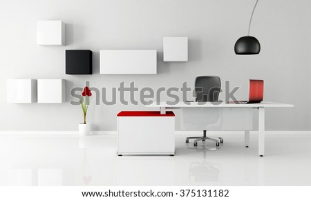 minimalist office with white desk laptop and cabinet -3D Rendering - stock photo