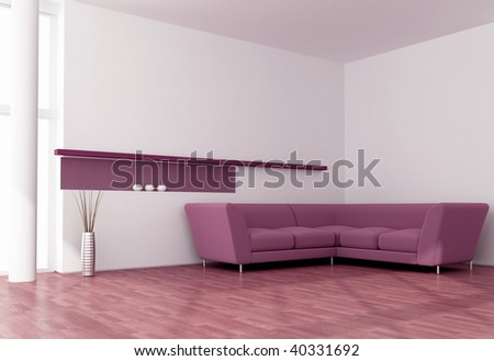 minimalist purple and white living room - rendering