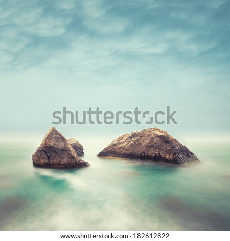 Minimalist Seascape. Coastal Sunrise. - stock photo