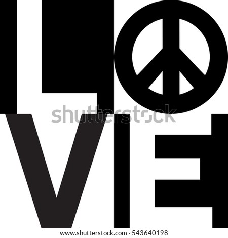 Minimalist Text Design Love Peace Symbol Stock Illustration