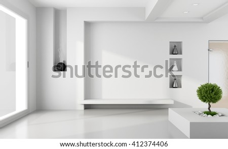Minimalist white room with niche without furniture - 3d rendering - stock photo